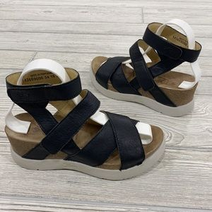 Fly London Black Strappy Wedge Sandals - sz 38
